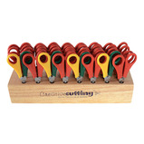 HARDWOOD SCISSOR RACK & 32 SCISSORS