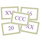 A6 Double Sided Roman Numeral Cards