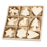 WOODEN ORNAMENT ASSORTMENT PK72