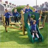 Outdoor Wooden Wacky Balance Playframe and Slide