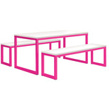 Coloured Frame Dining Table & Benches