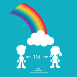 1m Social Distancing Rainbow Floor Stickers