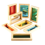 WOOD FRAME COLOURED MIRRORS 8PK