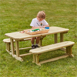 Outdoor Wooden Table & Benches Set