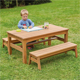 OUTDOOR LOW TABLE AND BENCHES SET