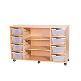 8DP TRAY&SHELF MOBILE UNIT BEECH/YLW