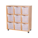 9 JUMBO TRAY MOBILE UNIT BEECH/CLR