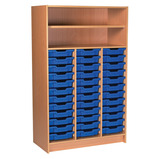 TALL TRAY SHELF UNIT WHITE/BLUE
