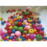 COLOURED WOODEN BEADS TUB