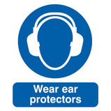 USE EAR PROTECTORS 297X210MM POLY